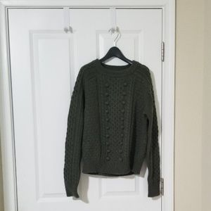 J.Crew Popcorn Cable-Knit in Frosty-Olive Sz S